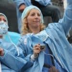 manifestation iade infirmière anesthésiste en blouse paris