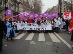 Journée d'action contre les ordres paramédicaux (infirmier, kinésithérapeute...) le mardi 20 mars