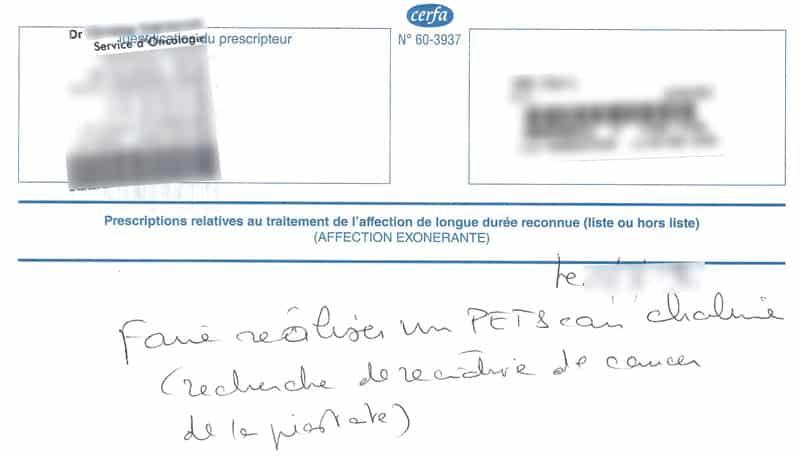 Prescription de PET Scan pour « recherche de récidive de cancer de la prostate ». Les noms du prescripteur et celui du patient étant dactylographiés, ils ont été indexés par les moteurs de recherche.