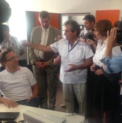 Lors de la visite de Marisol Touraine dans le service des urgences de l'Hôpital Edouard Herriot, à Lyon.