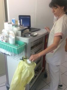 ©DR Dans le groupe d'Ehpad E4, à Montpellier, les chariots de soin sont dotés de trois poubelles de tri.