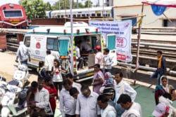 L'ambulance du Lifeline Express, en gare de Gondia.