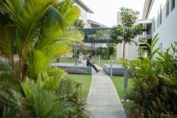 Le Médipôle en Nouvelle-Calédonie afin de créer un cadre agréable pour les malades, le Médipôle comporte de nombreux jardins aux espèces endémiques
