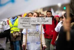 Lors d'une manifestation des soignants en Ehpad en février 2018