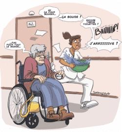 Desssin réalisé par SoSkuld (soskuld.com) pour une affiche de la CGT Action Sociale, lors de la manifesation des soignants en Ehpad, en janvier 2018
